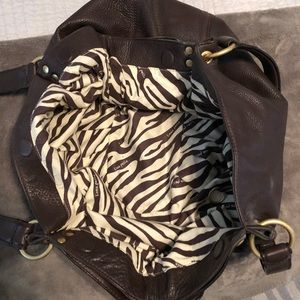 Linea Pelle brown leather hobo - EUC
